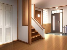 The door to the left is the janitor s closet the middle door leads to the kitchen the right door is the front Cenário anime Fundo de animação Simples anime