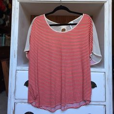 NWOT Orange and white striped top Cute orange top with white stripes and chiffon bow detail panel in the back. In brand new condition, never worn. Offers are welcome, but please use blue offer button to negotiate price. No trades. LC Lauren Conrad Tops Tees - Short Sleeve