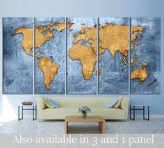 Blue World Map №1489 Canvas Print