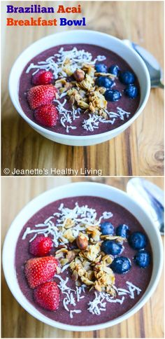 Brazilian Acai Breakfast Bowl - this is a refreshing and healthy breakfast, great for pre-workouts or to start your day off Acai Breakfast Bowl Recipe, Banana Breakfast, Breakfast Bowls, Healthy Breakfast Recipes, Healthy Food List, Healthy Foods, Curry, Cereal Recipes, Clean Eating
