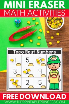 This Mini Eraser Activity Mats freebie will make practicing letters and sounds along with numbers and counting a ton of fun for your kindergarten students. Just add mini erasers and you're set for no-prep learning! Kindergarten Math Activities, Counting Activities, Alphabet Activities, Classroom Resources, Kindergarten Classroom, Classroom Ideas, Literacy, Teaching The Alphabet, Teaching Reading
