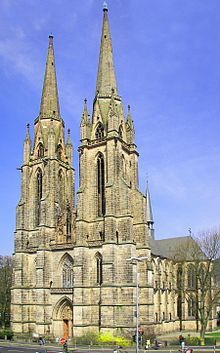 """Exterior, Church of St. Elizabeth of Hungary. Marburg, """"hallenkirche church""""- aisles are same height as nave. More unified and free-flowing Aisles provide bracing for the nave vaults German Architecture, Cathedral Architecture, Baroque Architecture, Die Renaissance, Church Aisle, Costa Rica, Gothic Buildings, Cathedral Church, Beautiful Castles"""