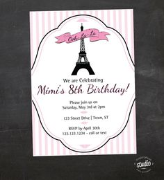 Eiffel tower invitation for birthday party or baby shower girls eiffel tower invitation for birthday party or baby shower girls diy printable invite by beeanddaisy 1200 via etsy brookes 7th birthday pinterest filmwisefo