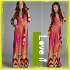 HP 7/13 & 9/2GORGEOUS MULTI COLOR WRAP MAXI R E S T O C K E D!!! Vibrant, cheerful colors, reminiscent of a beautiful summer day. 94% polyester/5% spandex, wrinkle resistant. Made in USA NWOT tla2 Dresses