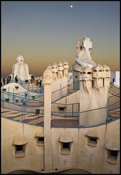 The chimneys of La Pedrera, by architect Antoni Gaudi, in Barcelona, Spain by castillerozaldívar Barcelona Hotels, Barcelona Catalonia, Barcelona Travel, Spanish Architecture, Architecture Details, La Pedrera Gaudi, Art Nouveau, Vicky Cristina Barcelona, Spanish Culture