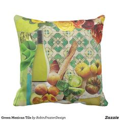 Green Mexican Tile Pillows