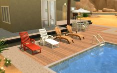 The Sims 4 | LOolyharb1 2t4 Pool side Lounge chairs | buy mode new objects outdoor seating