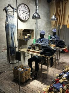 Denim Visual Merchandising_denim sweatshop window display