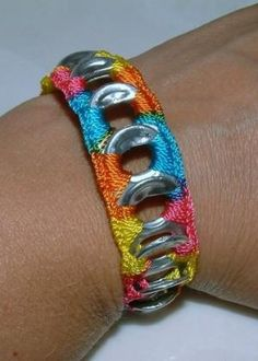 Not your ordinary pop top bracelet! This darling pop top bracelet in Bubble Gum print - pink, bright blue, yellow and orange - was lovingly made from Can Tab Bracelet, Bracelet Display, Diy Bracelet, Crochet Bracelet, Can Tab Crafts, Pop Top Crafts, Pop Can Tabs, Jewelry Crafts, Handmade Jewelry