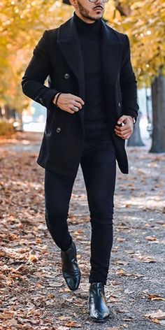 Men's Fashion Pure Color Double Breasted Turndown Collar Coat There are a lot of fashion fall & Winter men's coats and jackets you can option. Winter Outfits Men, Stylish Mens Outfits, Outfit Winter, Mode Masculine, Black Coat Outfit, Traje Casual, Herren Outfit, Men's Coats And Jackets, Mens Fashion Suits
