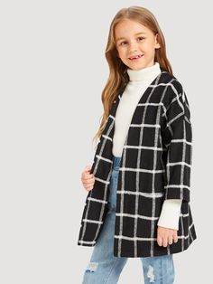 To find out about the Girls Open Front Grid Print Jacket at SHEIN, part of our latest Girls Jackets & Coats ready to shop online today! Girls Fashion Clothes, Kids Outfits Girls, Cute Girl Outfits, Teen Fashion Outfits, Kids Fashion, Cool Outfits, Summer Outfits, Casual Outfits, Print Jacket