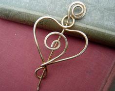 Amor corazón chal perno de cobre amarillo espiral Pin bufanda, suéter Clip broche, cierre, sujetador, esposa, madre, mujer tejer accesorios de la joyería