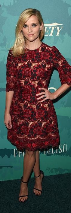 Who made  Reese Witherspoon's black sandals and red floral dress