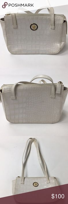 Vintage Used GIANNI VERSACE crocodile handbag This handbag is in used condition Please see pictures  Inside has pen stains It is still a good bag because it is a good name brand! And is authentic!! Versace Bags Shoulder Bags