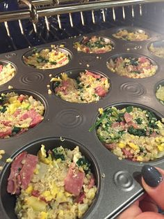 spinach and bacon quinoa muffins.  80 day obsession pre workout meal. easy meal prep.