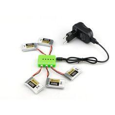5X Batería de 3.7v 1s 600mah 50c con el cargador para Eachine QX90 Qx95 qx80 qx70 fb90 qx100 ex100 ex105