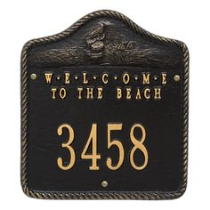 """Personalized """"Welcome to the Beach"""" Nautical Address Plaque - One Line. Available now at the best price only at www.everythingnautical.com #Nautical #Home #Decor #Gifts"""