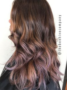 Brunette balayage with lavender pieces