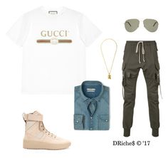 """""""Untitled #773"""" by djrichard ❤ liked on Polyvore featuring Gucci, Rick Owens, Fear of God, Yves Saint Laurent and MANGO MAN"""