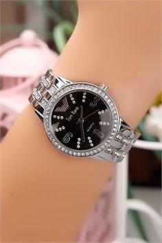 Kristal Taşlı Siyah İç Tasarım Çelik Kasa Bayan Saat
