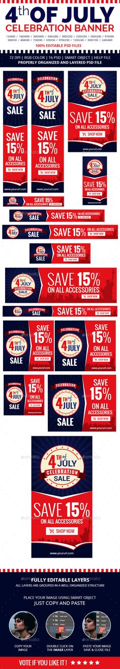 4th of July Celebration Banners - #Banners & Ads #Web Elements Download here: https://graphicriver.net/item/4th-of-july-celebration-banners/20025558?ref=alena994