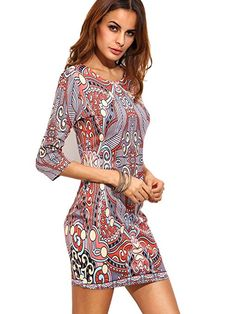 45f3376d7ee1c6 Floerns Women s Retro Vintage Pattern 3 4 Sleeve Party Dress Pink XS Roze  Jurk