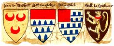 Family Coat of Arms :: Image 3 of an early roll of arms belonging to the Society of Antiquaries of London