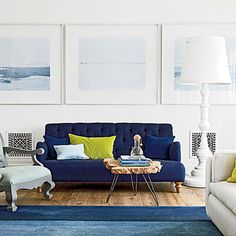 blue sofa, large scale art