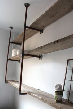 Reclaimed Scaffolding Boards and Steel Pipe Wall Mounted Shelving/Bookcase - Its salvaged vintage industrial design works perfectly in a sophisticated, casual living space. This shelving system can be made to measure to your own specifications. Modern Bookcase, Bookcase Shelves, Wall Mounted Shelves, Book Shelves, Glass Shelves, Fireplace Shelves, Floating Shelves, Shelf, Steel Shelving