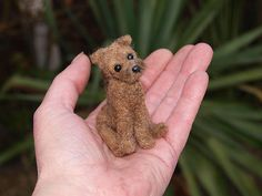 """OOAK needle felted Border Terrier dog - only 2.5"""" tall."""