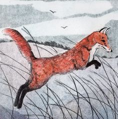'Quick Brown Fox' By Printmaker Sarah Bays. Blank Art Cards By Green Pebble. www.greenpebble.co.uk