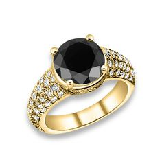 6.34 ctw 14k YG AA Black, Accent G-H Color, I1 Clarity Diamonds Engagement Ring #engagementrings #jewelry #pricepointshop #rings #ring