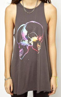 rainbow skull profiles [ASOS Oversized Vest with Multicoloured Skulls]