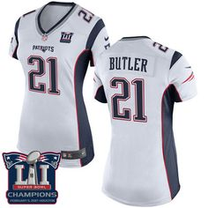 a6487c5f7 Nike Patriots Malcolm Butler White Super Bowl LI Champions Women s Stitched  NFL New Elite Jersey And Broncos Emmanuel Sanders 10 jersey