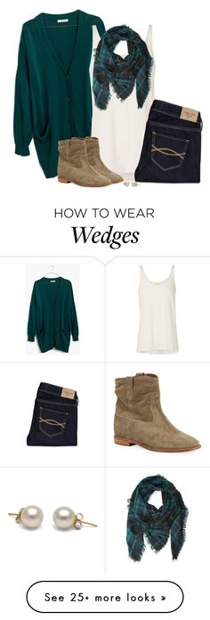 """""""Teal green cardigan, frayed plaid scarf & suede boots"""" by steffiestaffie on Polyvore featuring Madewell, sass & bide, Abercrombie & Fitch, Forever 21 and Isabel Marant"""