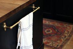 Tolson Single Towel Bar in Aged Brass | Rejuvenation