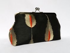 Clutch Purse Charcoal Grey Silk Embroidered by TheHeartLabel
