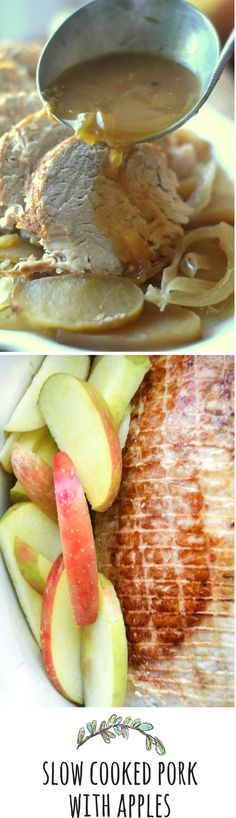 Long slow cooking with hard cider and apples give this pork roast incredible flavor! Pork Recipes, Slow Cooker Recipes, Crockpot Recipes, Cooking Recipes, Healthy Recipes, Slow Cooked Pork Loin, Pork Roast, Braised Pork, Carne Asada