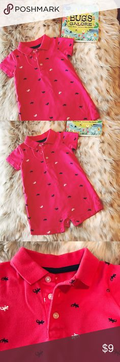 👶 Carter's 6M Lizard Romper 👶 Gently used 6M Carter's lizard polo romper-- distressed red with navy blue and white lizards-- 3 buttons and 4 snaps-- good condition Carter's One Pieces