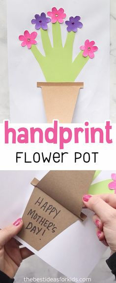 This handprint flower pot card is perfect to make for Mom or Grandma for Mother's Day