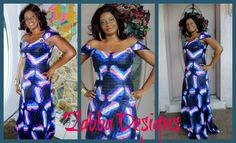 African Dress, Tie Dye Pink And Blue African Maxi Dress, Handmade Maxi dress,Blue Long Dress, Gift For Her By Zabba Designs