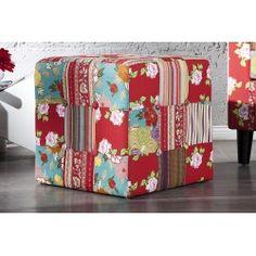 Tabouret en tissu de coton coloré Colorful Furniture, Diaper Bag, Cube, Stool, Interior Design, Floral, Parfait, Ibiza, Home Decor