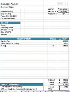 invoice templates printable free | invoice template 1 | wf, Invoice examples