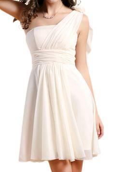 ROMWE | ROMWE 1-shoulder White Dress, The Latest Street Fashion