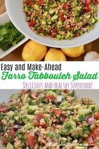 Farro Tabbouleh Salad is a healthy and easy recipe for using farro instead of bulgur in tabouli salad. Made with cucumbers, tomatoes, parsley, red onion, and lemon. Easy Brunch Recipes, Easy Salad Recipes, Healthy Recipes, Dinner Recipes, Dinner Ideas, Healthy Meals, Healthy Side Dishes, Side Dishes Easy, Thanksgiving Side Dishes