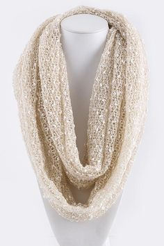 """Crochet Infinity Scarf in Warm Mocha with little white """"snow balls"""" all throughout."""
