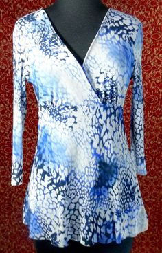 LUCY FIONA blue artsy abstract nylon long sleeve blouse M (T38-01J5) #LUCYFIONA #Blouse #Casual