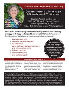MYRTLE BEACH - Transform Your Life with RITT. Sunday, Oct. 13th. http://www.stopeatingyourheartout.com/mhb/2013-learn-ritt-workshops/ #overeating #tapping #SavvyBIZSolutions