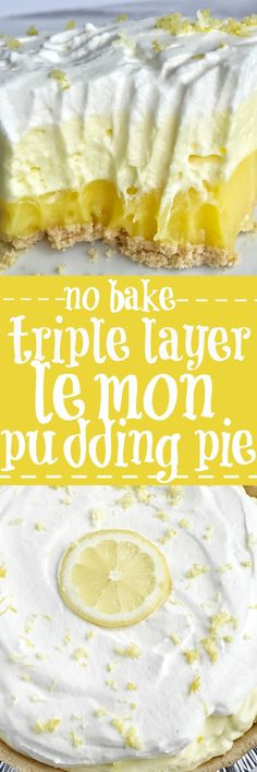 This easy & simple no bake triple layer lemon pudding pie is the perfect summertime dessert! You only need 5 ingredients for a sweet and creamy lemon pudding pie that is no bake and so simple to make. Desserts {no bake} Triple Layer Lemon Pudding Pie 13 Desserts, Baking Desserts, No Bake Summer Desserts, Easy Lemon Desserts, Holiday Desserts, Layered Pudding Desserts, Healthy Desserts, Lemon Lush Dessert, Mexican Desserts