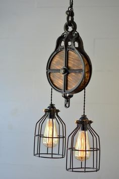 Pulley Light – Rustic Light Fixture – Pendant Chandelier – Lighting – Modern Light – Industrial Chic – Vintage Light – Country Rustic Light - All About Decoration Vintage Industrial Lighting, Rustic Lighting, Industrial House, Home Lighting, Modern Lighting, Industrial Style, Lighting Design, Club Lighting, Industrial Lamps
